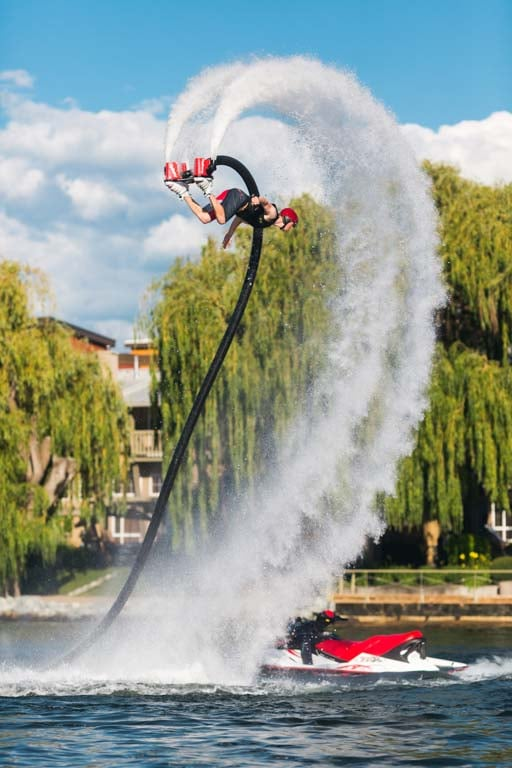 Doing a Flyboarding backflip above Manteo Resort in Kelowna BC