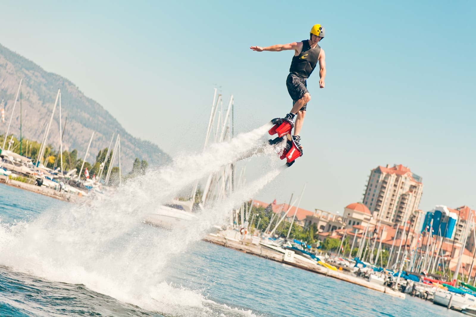 Flyboarding in downtown Kelowna by the sails