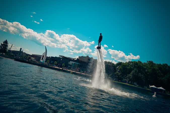 Flyboarding in downtown Kelowna
